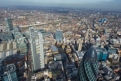 Swiss Re Tower and Heron Tower aerial view, London