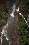 Bungee jumping from Victoria Falls bridge  above the Zambezi river, Victoria Falls, Zimbabwe