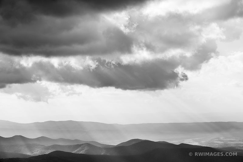 STORMY CLOUDS BLUE RIDGE MOUNTAINS SHENANDOAH VALLEY SHENANDOAH NATIONAL PARK VIRGINIA BLACK AND WHITE