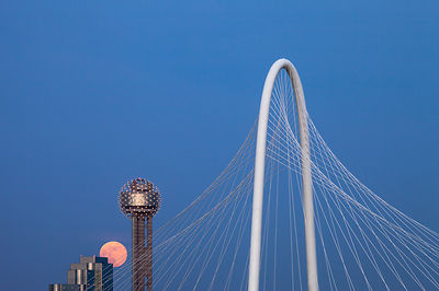 The Margaret Hunt Hill Bridge, Reunion Tower, and a Full Moon