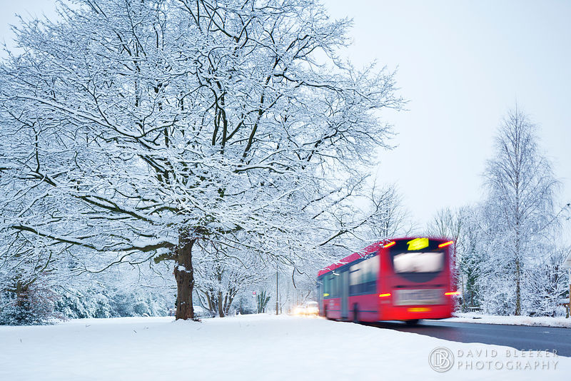 London Bus in the Snow in North London