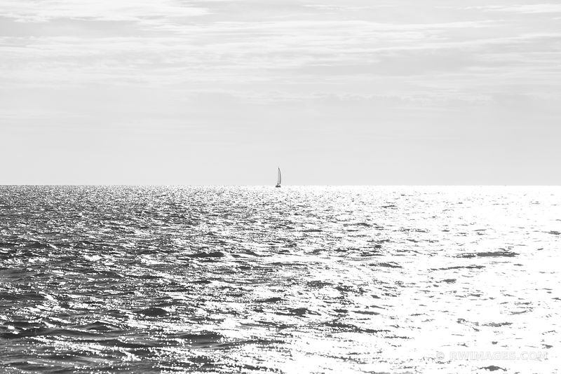 SAILBOAT VINEYARD SOUND BLACK AND WHITE
