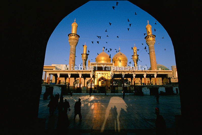 "Marco Polo called Baghdad the ""city of domes"" and it's easy to see why: here the golden domes and minarets of Khadimain Mosqu..."