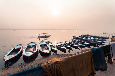 Boats on the Ganges River, Varanasi, India.