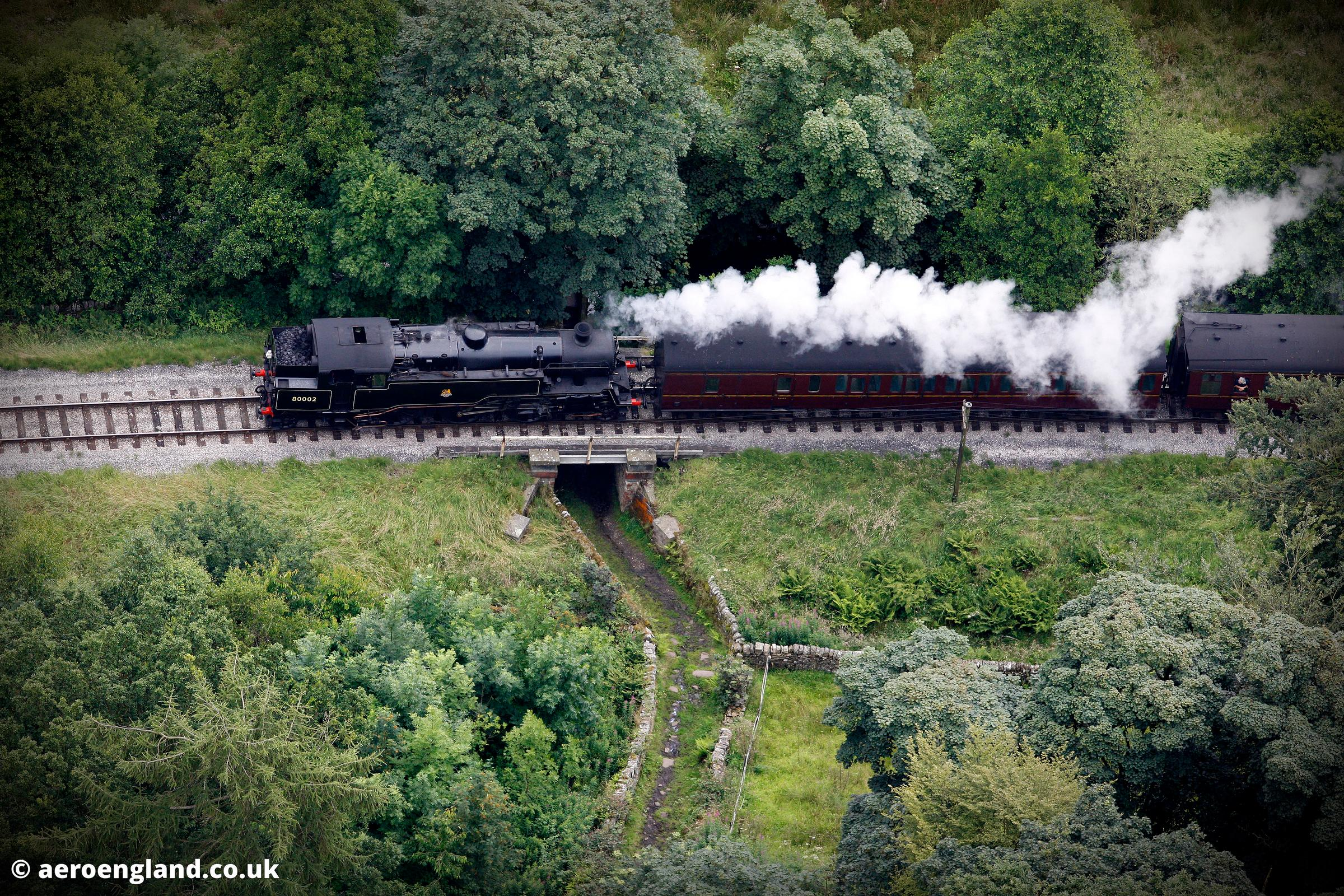 BR Standard Class 4 2-6-4T steam locomotive on the Keighley and Worth Valley Railway at Howarth Yorkshire
