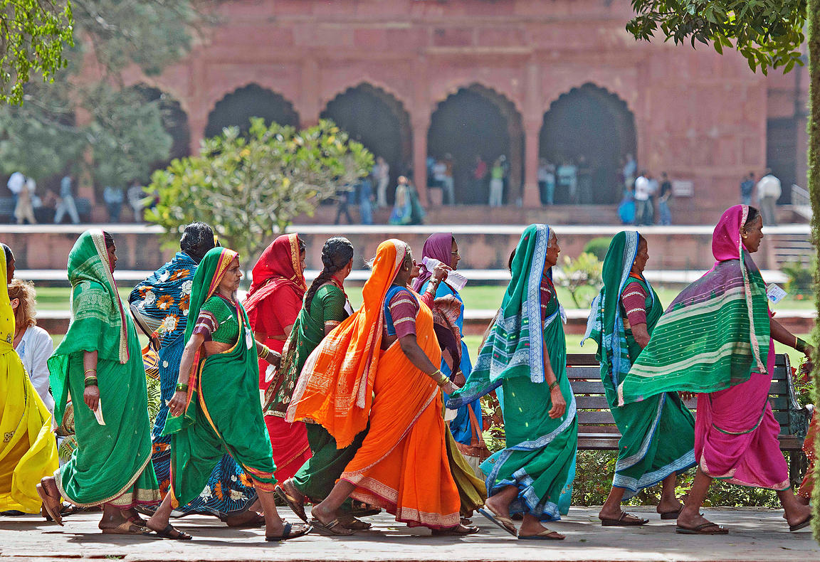 These women tourists from Maharashtra walk past the garden area of the magnificent Fatehpur Sikri complex.