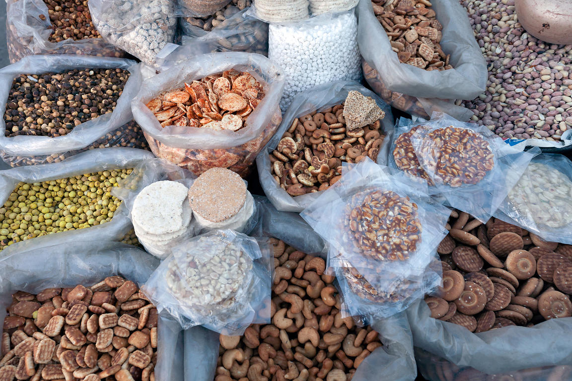 Nuts and biscuits for sale at a market in Jodhpur, Rajasthan, India