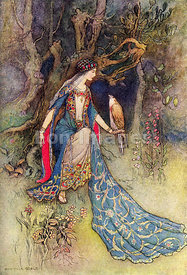 Canacee and the Falcon by Warwick Goble