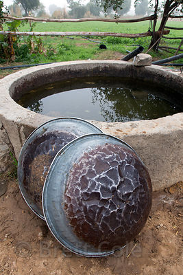 Hand-hammered metal bowls by a well on a farm, Killa village, Rajasthan, India