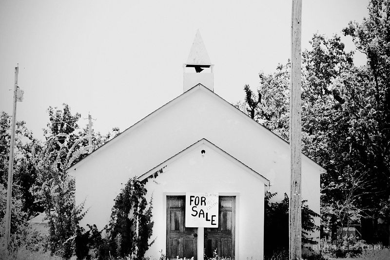 CHURCH FOR SALE ROUTE 66 MISSOURI BLACK AND WHITE