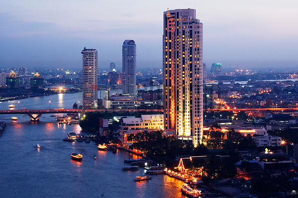 Bangkok Skyline on the Chao Phraya River at Dusk, Thailand