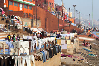 Laundry dries along the Ganges River near Kedar Ghat, Varanasi, India.