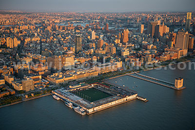A soccer field on the Hudson River, Lower Manhattan