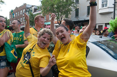 Hundreds in Montreal Canada celebrate Brazil's win