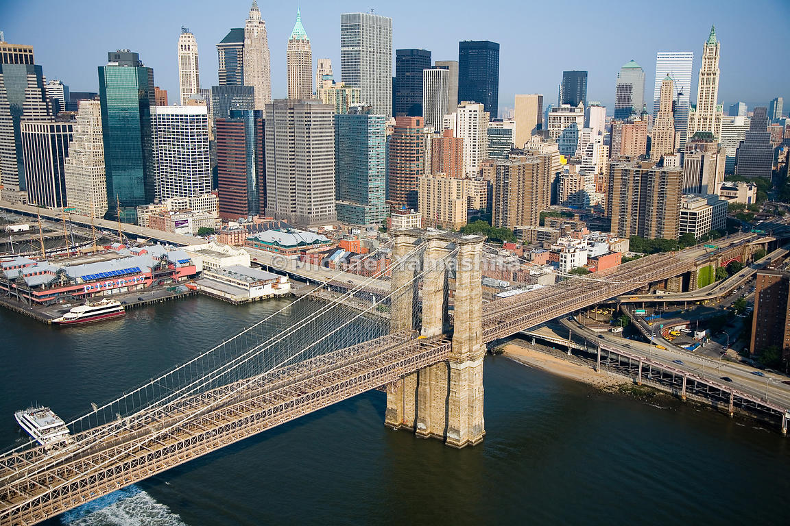 An aerial view of the Brooklyn Bridge and Lower Manhattan, New York City.