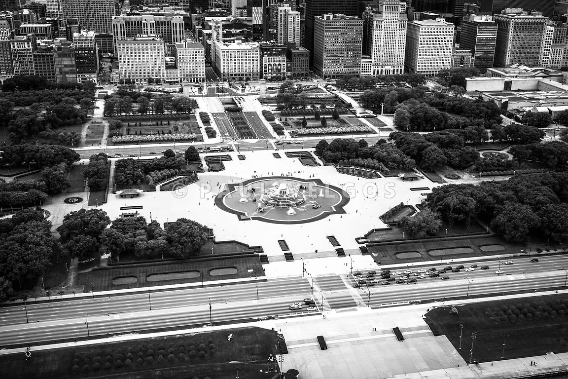 Chicago Aerial of Buckingham Fountain in Black and White