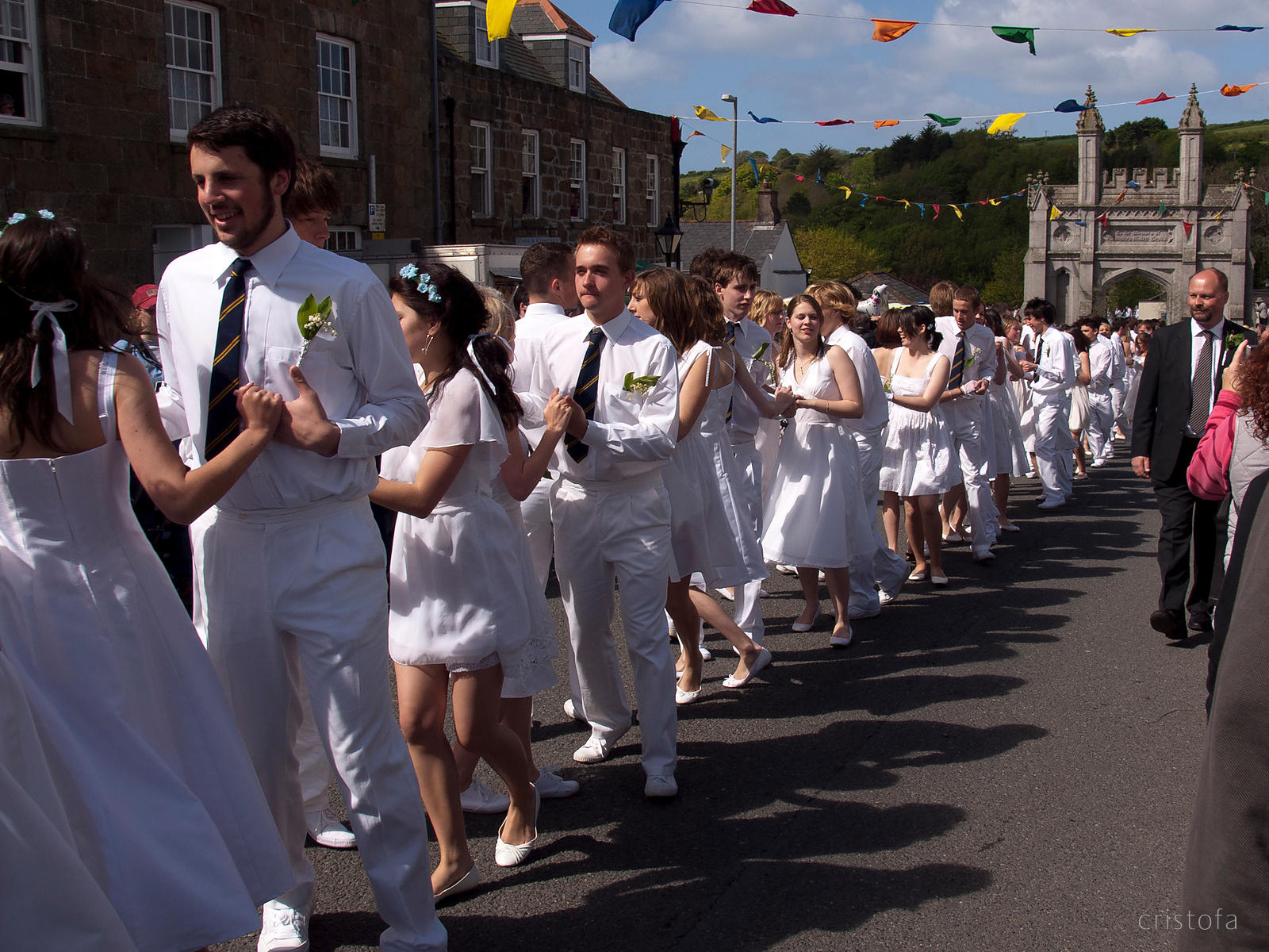 all ages take part in the Helston Flora Day parade