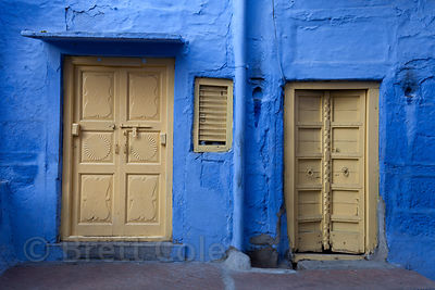 Striking blue house in Jodhpur, Rajasthan, India