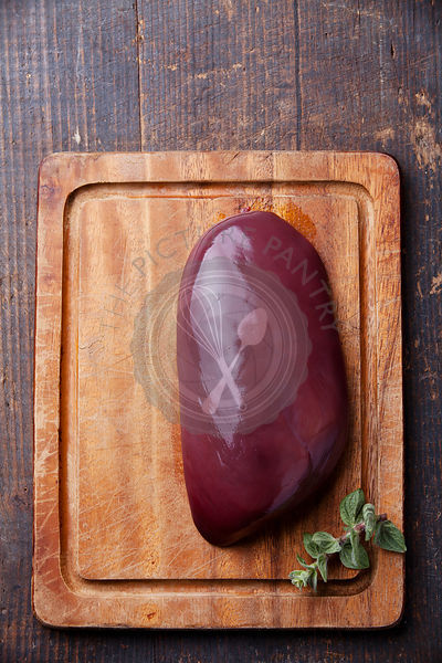 Raw liver on Chopping board