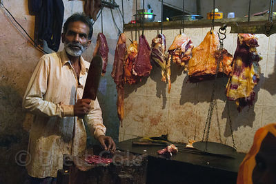 A butcher in the Dharavi slum, Mumbai, India. Dharavi is mostly Muslim.