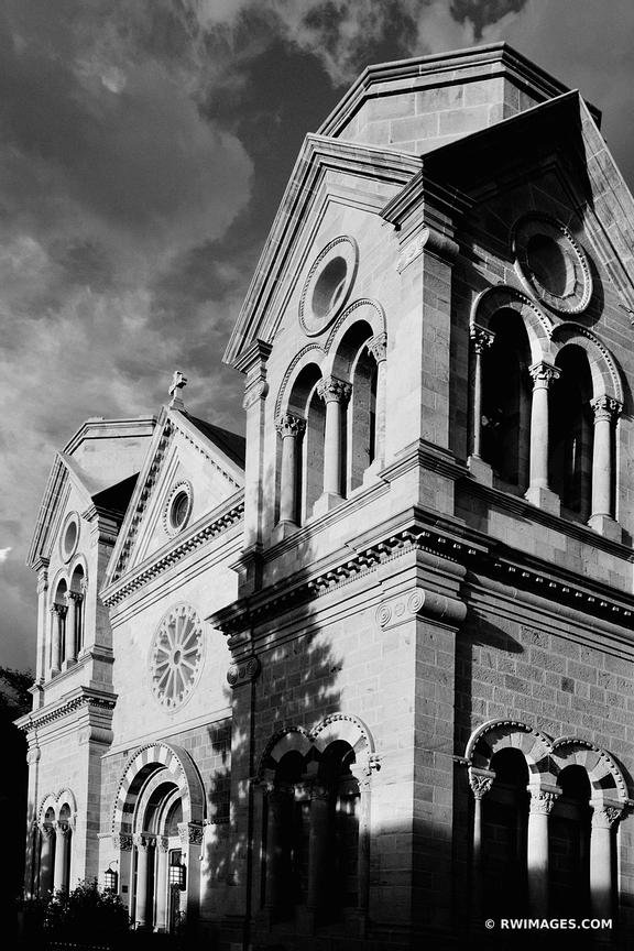 CATHEDRAL BASILICA OF ST. FRANCIS OF ASSISI SANTA FE NEW MEXICO ARCHITECTURE BLACK AND WHITE VERTICAL