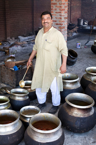 India - Srinagar - A portrait of Khan Mohammed Sharief Waza, a traditional Kashmiri chef at a Wazwan feast
