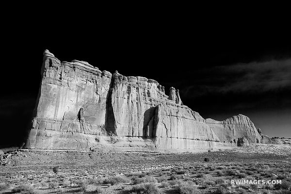 TOWER OF BABEL COURTHOUSE TOWERS ARCHES NATIONAL PARK UTAH BLACK AND WHITE AMERICAN SOUTHWEST LANDSCAPE