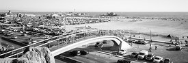 Santa Monica Bridge Black and White Panorama Photo