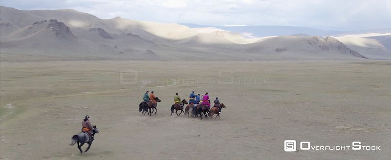 Drone Video Local Horesmen in South Gobi Mongolia
