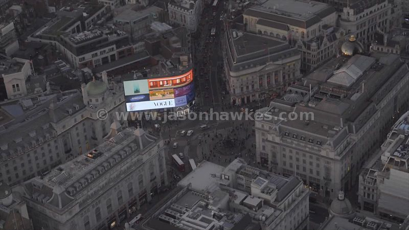 Aerial footage of Piccadilly Circus at dusk
