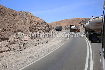 Fuel tankers on the road from Arica to La Paz (Bolivia), Upper Lluta Valley, northernmost Atacama Desert, Region XV Arica-Par...