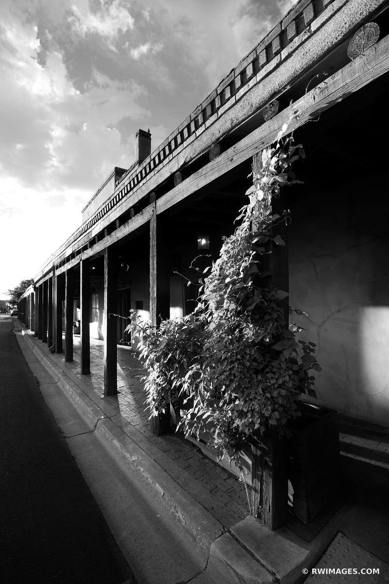 HISTORIC BUILDING ON SENA PLAZA SANTA FE NEW MEXICO ARCHITECTURE BLACK AND WHITE VERTICAL