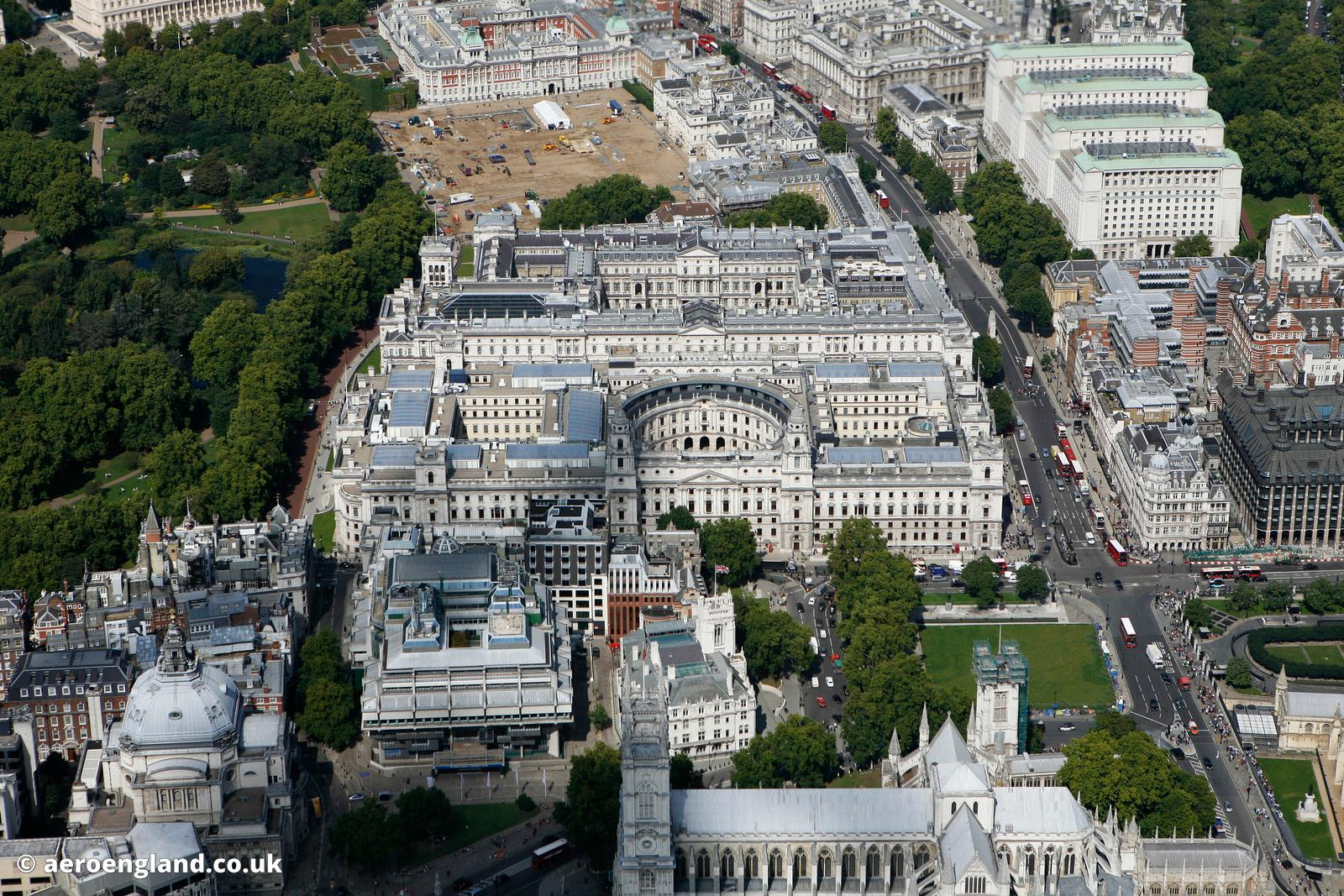 aerial photograph of HM Treasury buildings  ( Her Majesty's Treasury ) Great George St Westminster  London England UK also sh...