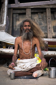 Portrait of a Sadhu or holy man, Tulsi Ghat, Varanasi, India