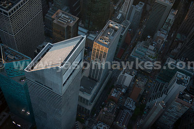 Aerial view of the Citigroup Center and 599 Lexington Avenue, two skyscrapers in Midtown Manhattan