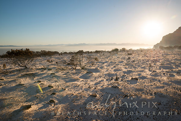 Silvermine East, with smoke covering the Cape Flats vally at sunrise..