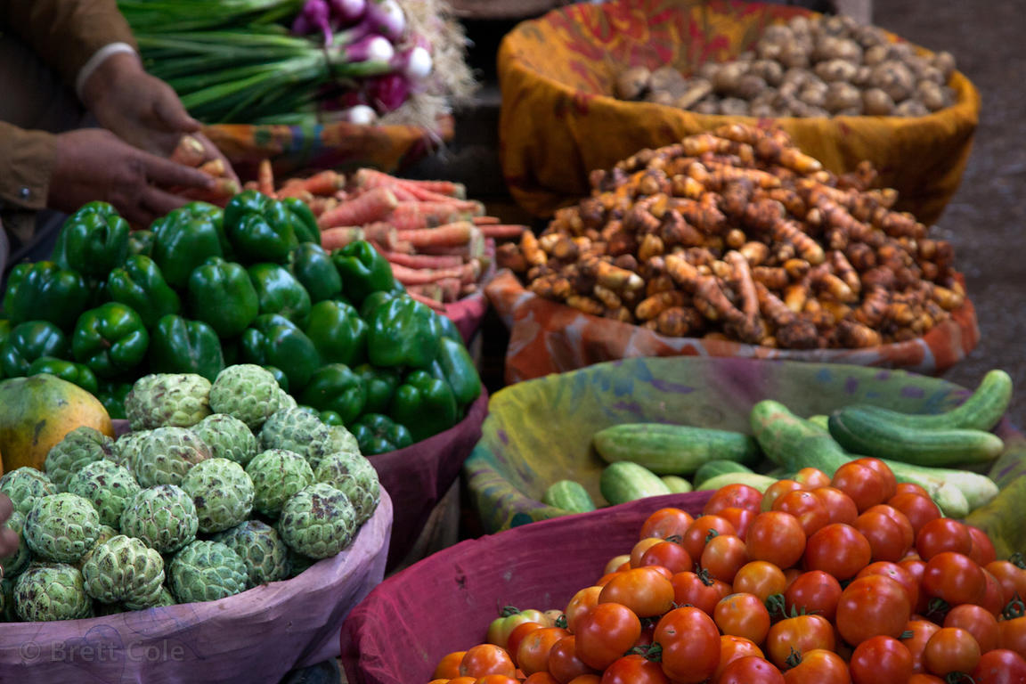 Beautiful assortment of vegetables at a local market in Bundi, Rajasthan, India
