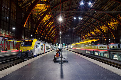 Departing trains at Antwerpen Central Station