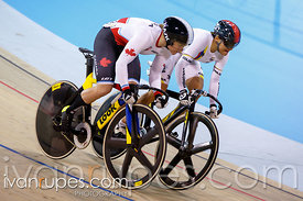 Women's Sprint 1/4 Final. Track Day 3, Toronto 2015 Pan Am Games, Milton Pan Am/Parapan Am Velodrome, Milton, On; July 18, 2015