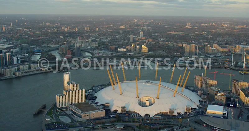 Aerial footage of the O2 Arena