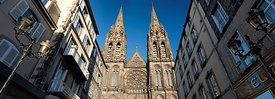 "Clermont Ferrand cathedral' front from ""Rue des Gras"""