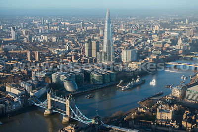 Aerial view of Tower Bridge and The Shard, London