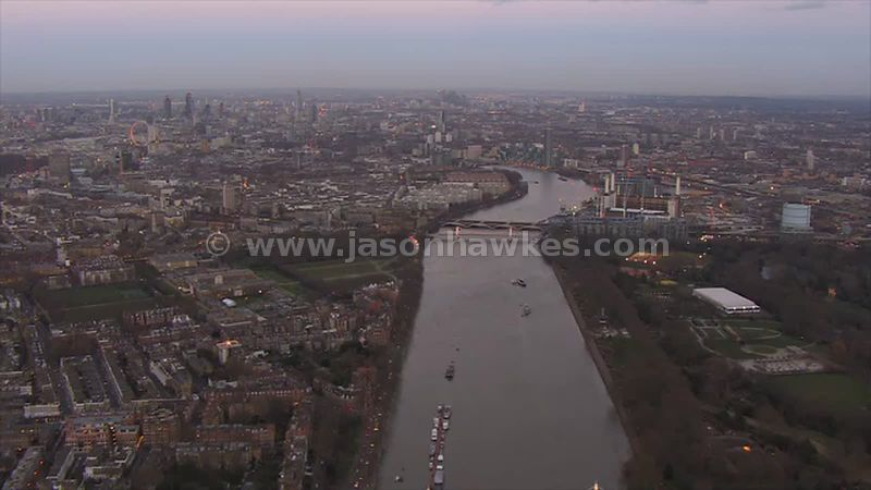 Aerial footage from Chelsea to Nine Elms, London