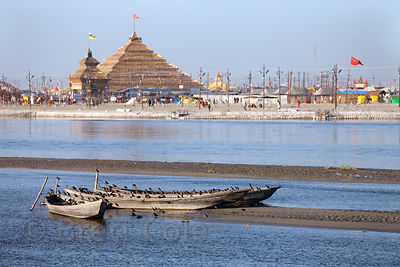 Old wooden boats on the Ganges River at the 2013 Kumbh Mela, Allahabad, India.