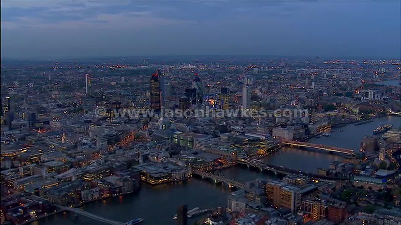 Aerial footage of the City of London at night, London, England, Uk