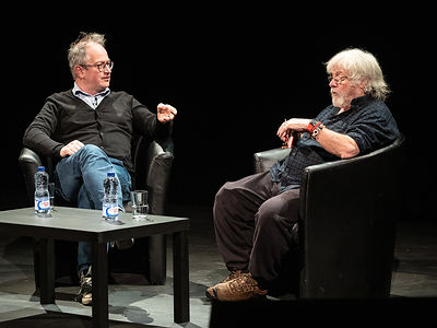 Robin Ince and Bill Oddie at the 2019 Slapstick Festival in Bristol