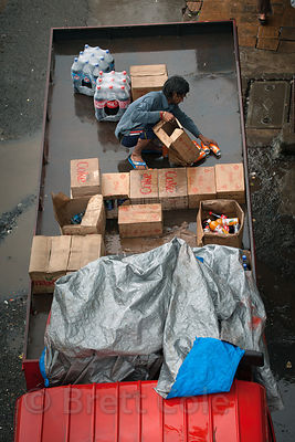 A worker on a truck in Bandra East, Mumbai, India.