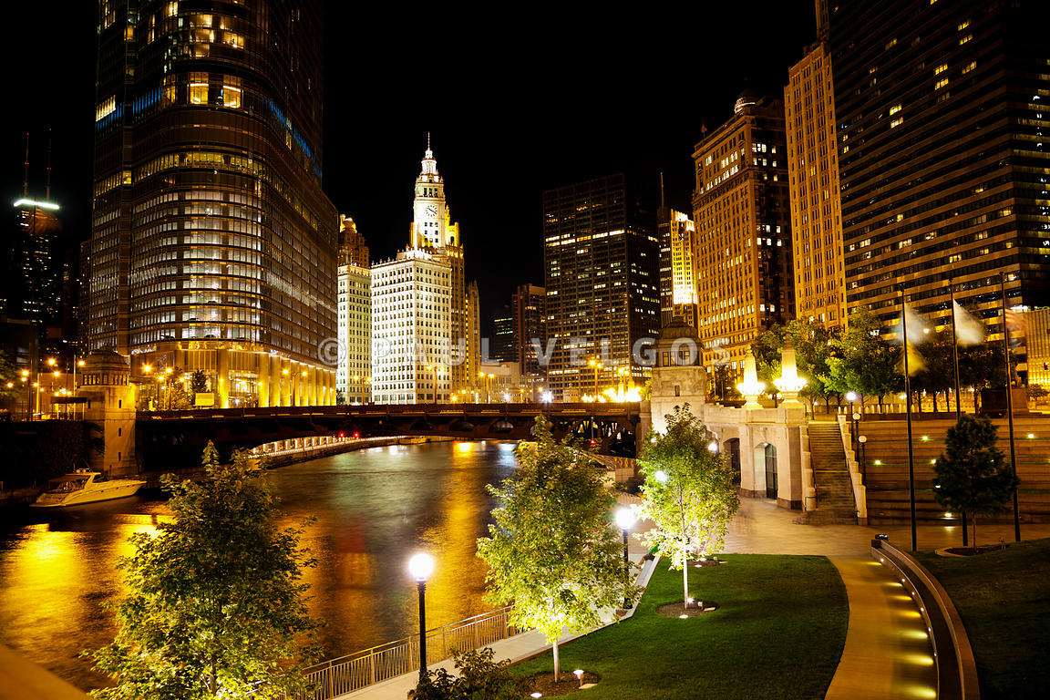 Chicago River Buildings at Night