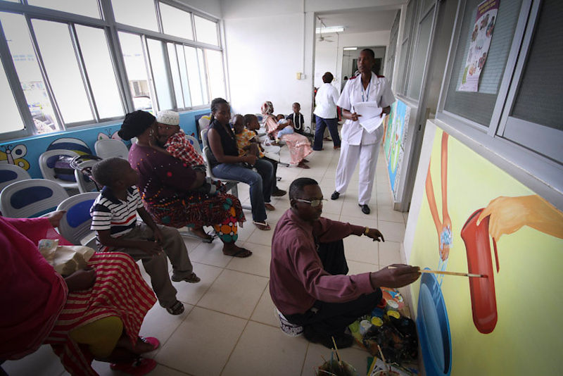 Children with Sickle Cell Disease in the waiting room of Muhimbili National Hospital in Dar es Salaam. The clinical services ...