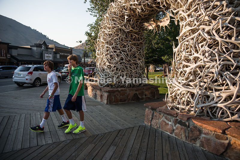 Elk Antler Arches at the entrance to Town Square. Jackson, Wyoming...Jagged peaks of the Teton Range, lush meadows, dense for...